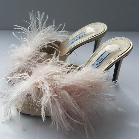 6fb1ed476f6 Prada Pink Feather Satin Mule Sandal Slides Heels.  M 5a6924cf1dffda61205f17f5